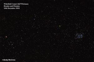 Comet 46P Wirtamen with Hyades and Pleiedes